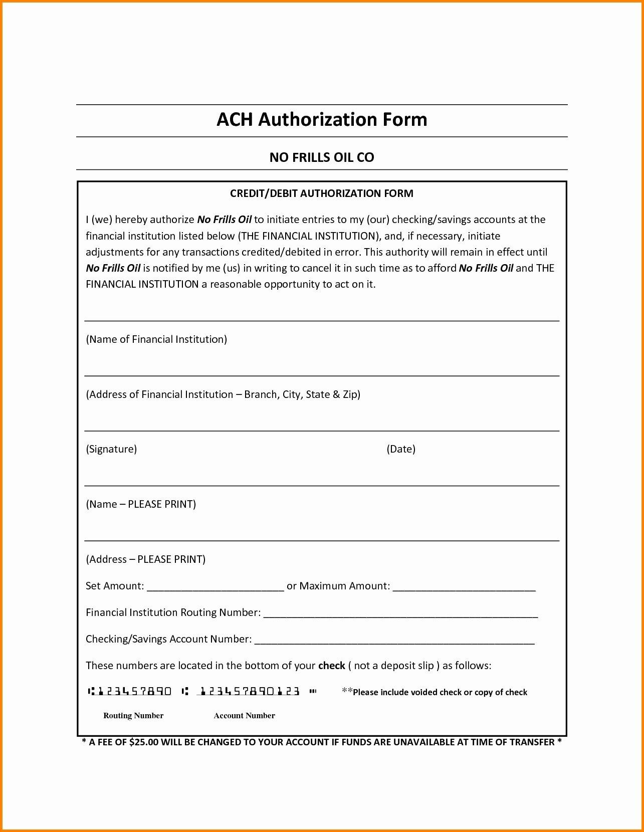 Ach Deposit Authorization form Template Luxury Ach Debit Authorization Agreement form Excellent Ach