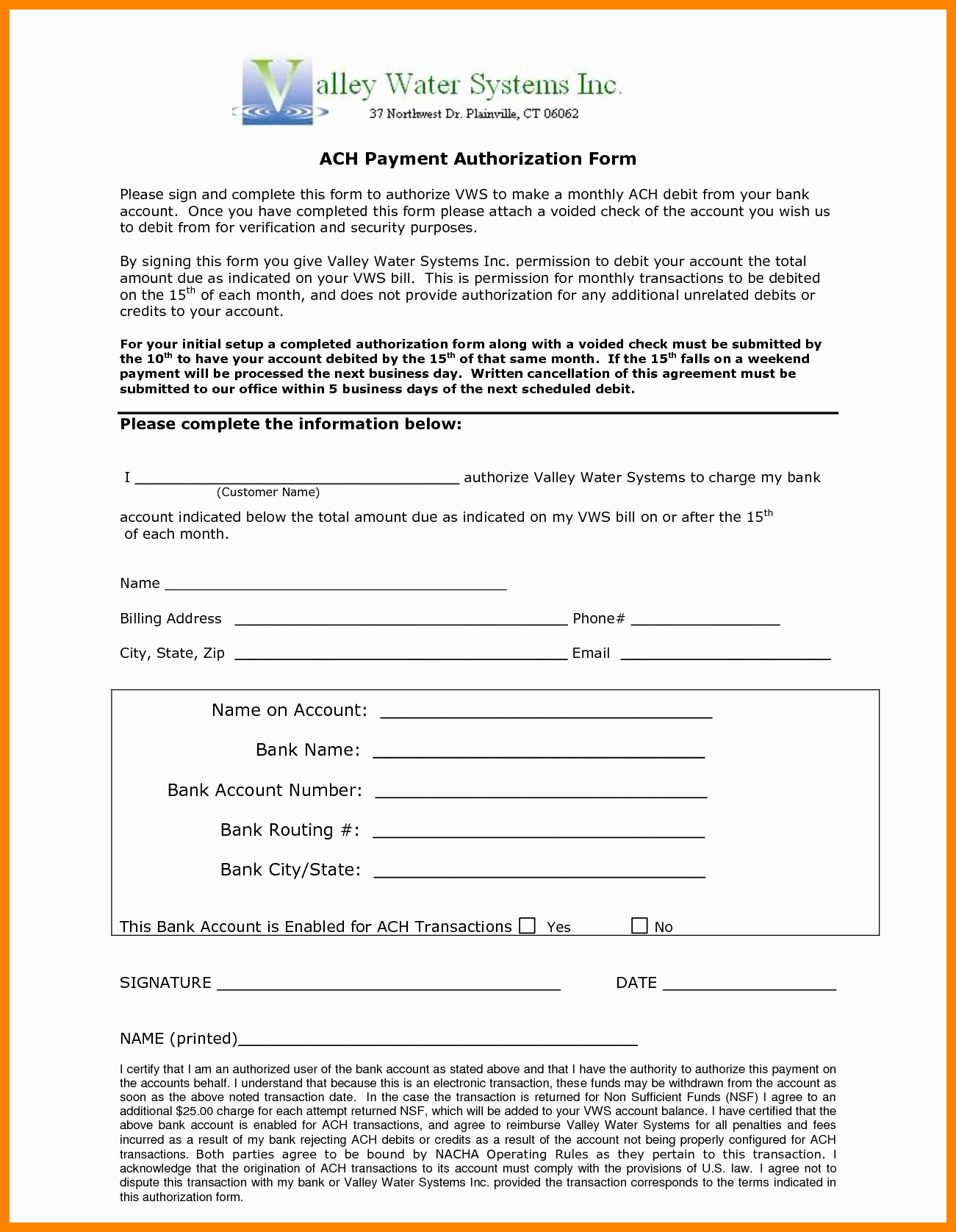 Ach Deposit Authorization form Template New 10 Ach Payment form Template