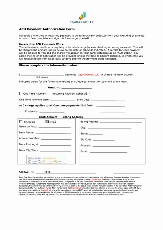 Ach Deposit Authorization form Template Unique Ach Payment Authorization form Printable Pdf