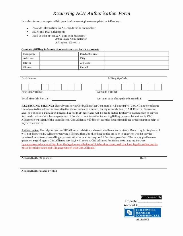Ach Deposit Authorization form Template Unique Recurring Ach Authorization form