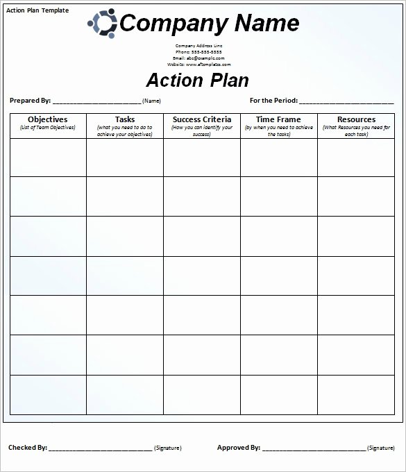 Action Plan Template Word Lovely Plan Action Template