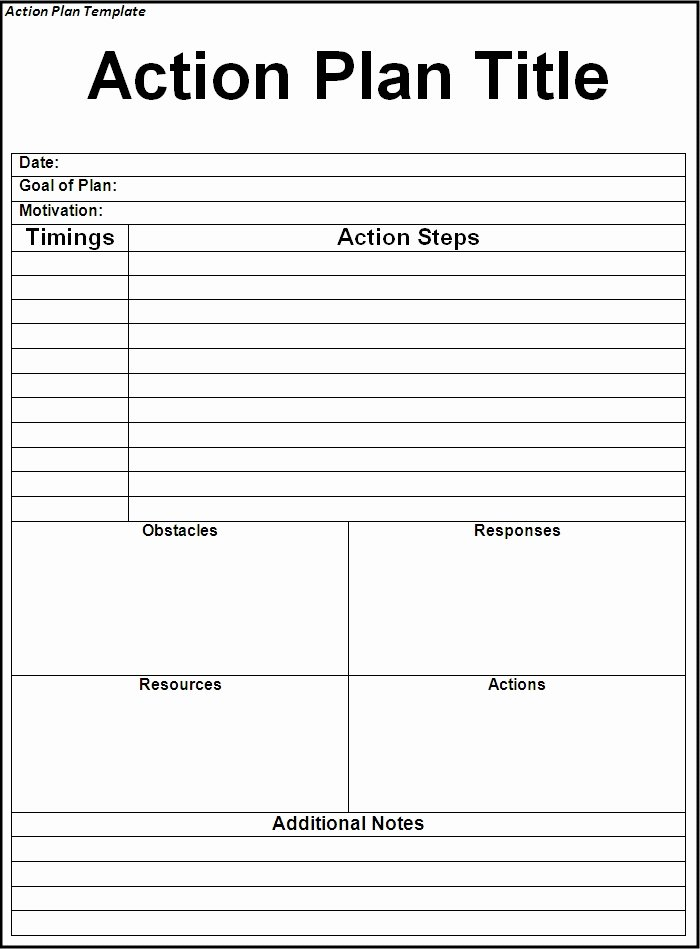 Action Plan Template Word Luxury Interesting Action Plan Template Word Example with Title