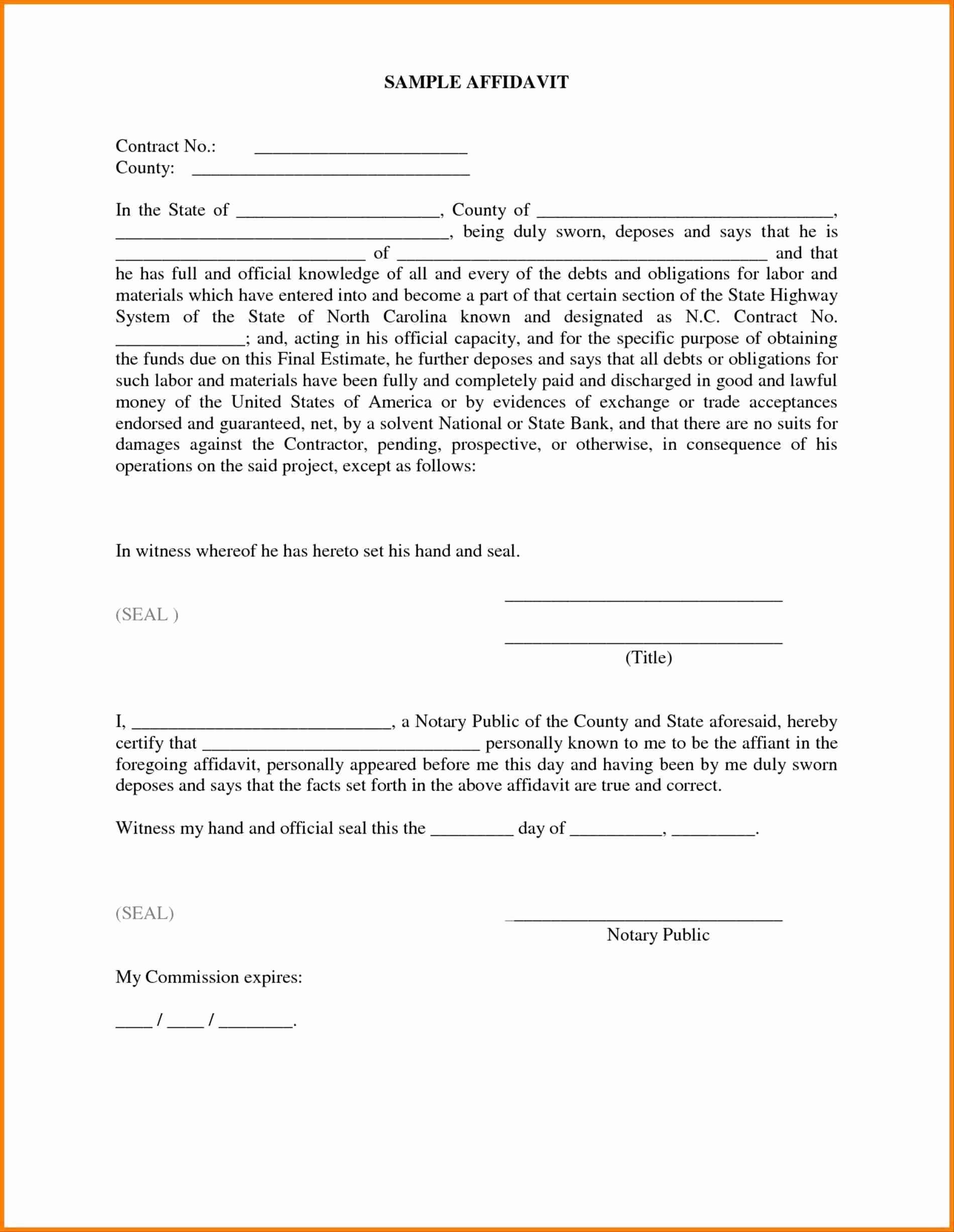 Affidavit Of Support Template Awesome Affidavit Template