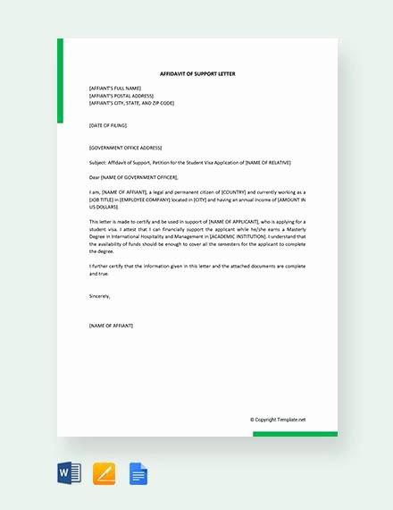 Affidavit Of Support Template Best Of 12 Affidavit Samples Doc Pdf