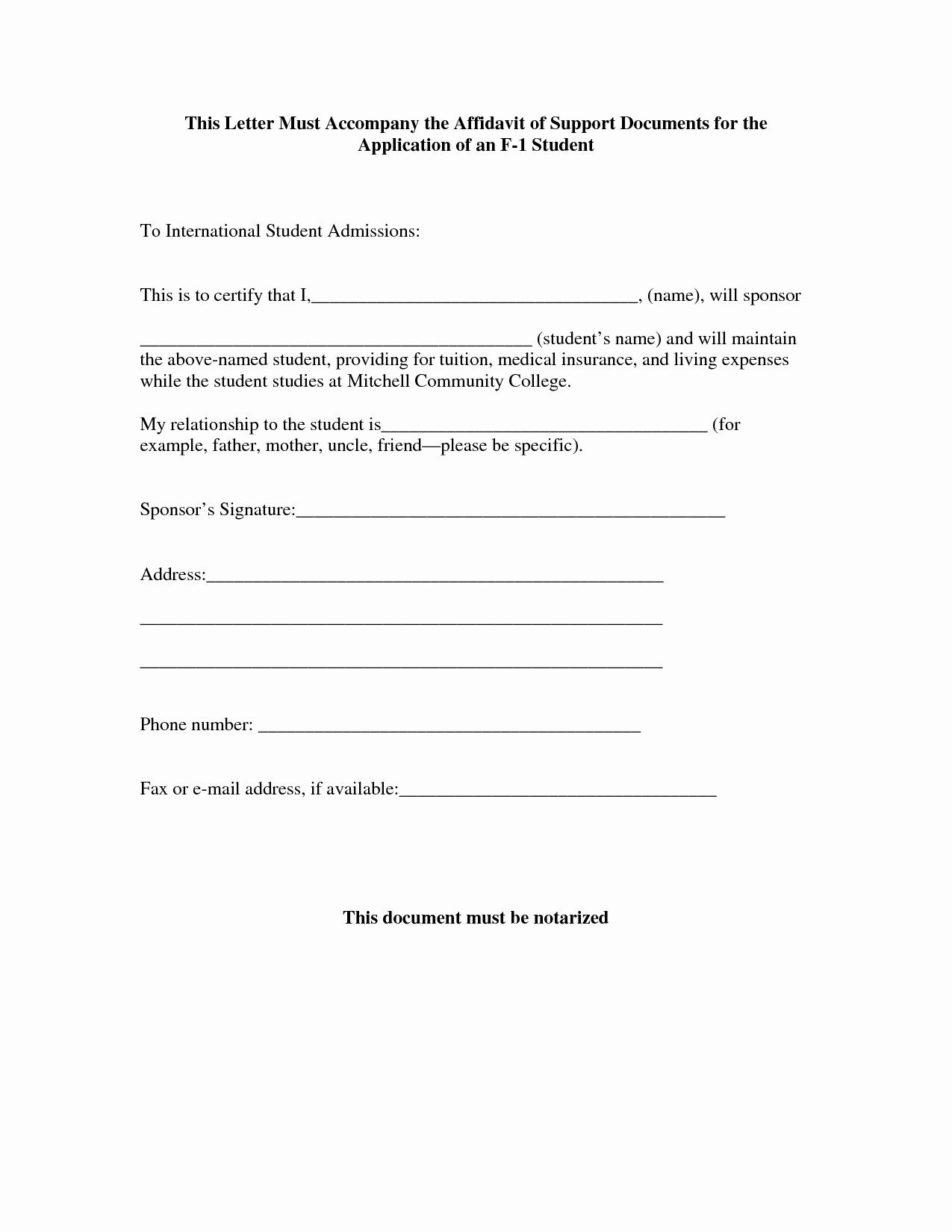 Affidavit Of Support Template Fresh Affidavit for I 751 Cover Letter Samples Cover Letter