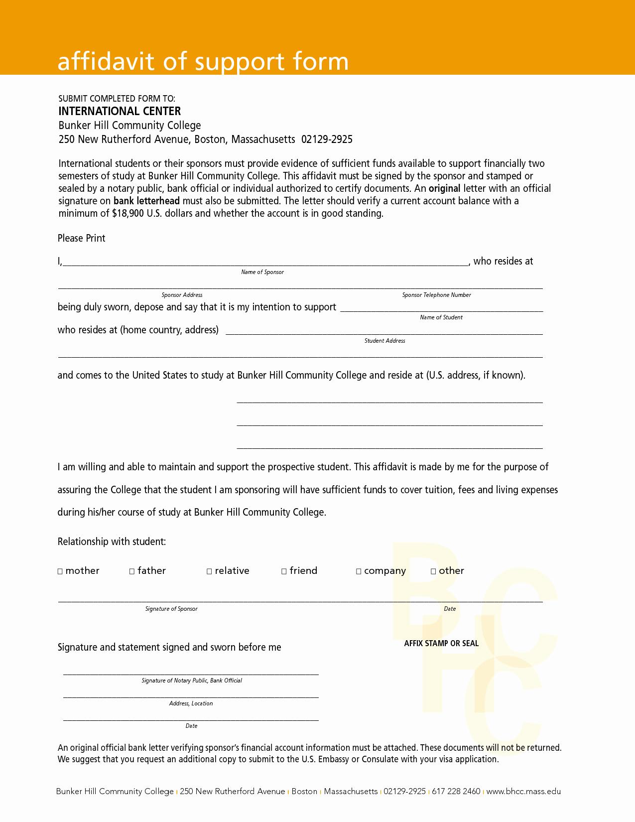 Affidavit Of Support Template Fresh Free Download Affidavit Of Support form with orange Header