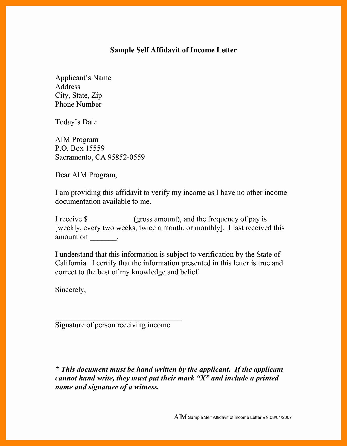 Affidavit Of Support Template Luxury 10 Example Of Affidavit Sample Letters