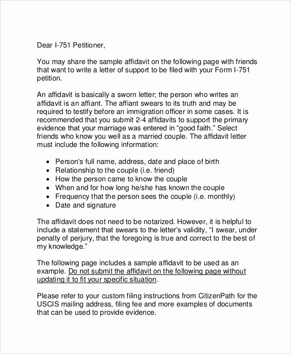 Affidavit Of Support Template Unique 12 Affidavit Samples Doc Pdf