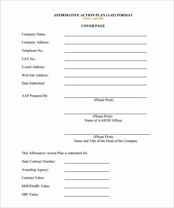 Affirmative Action Plan Template Awesome Affirmative Action Plan Template 5 Free Word Excel