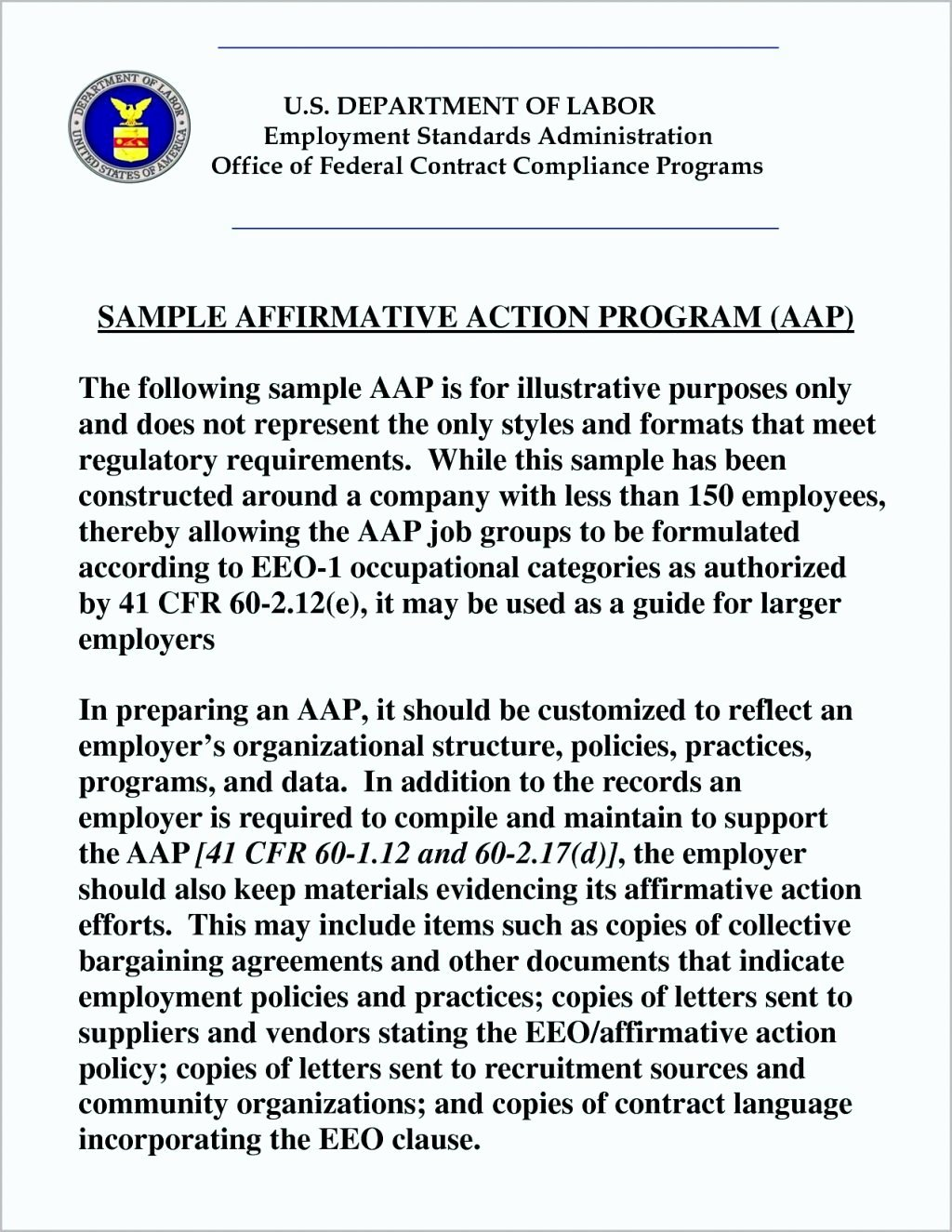 Affirmative Action Plan Template Awesome Affirmative Action Plan Template for Small Business
