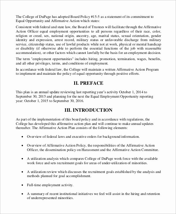 Affirmative Action Plan Template Awesome Sample Affirmative Action Plan 9 Examples In Word Pdf