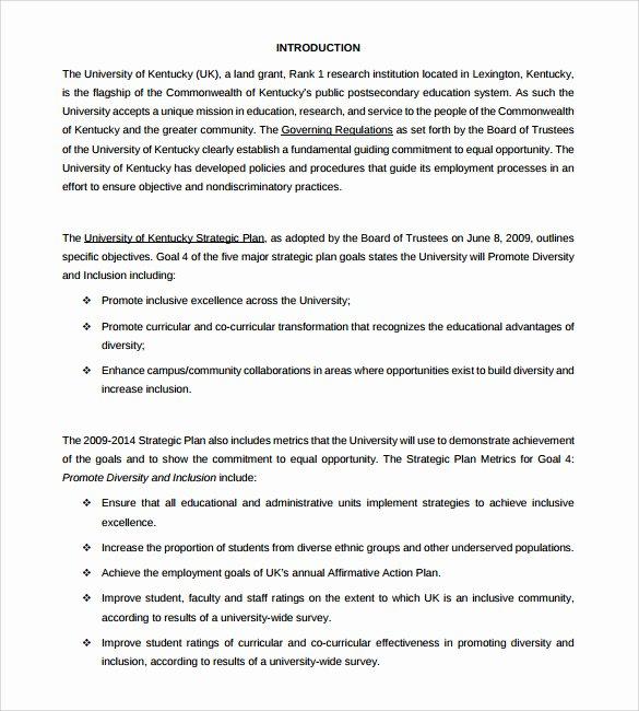 Affirmative Action Plan Template Elegant Sample Affirmative Action Plan 9 Documents In Pdf Word