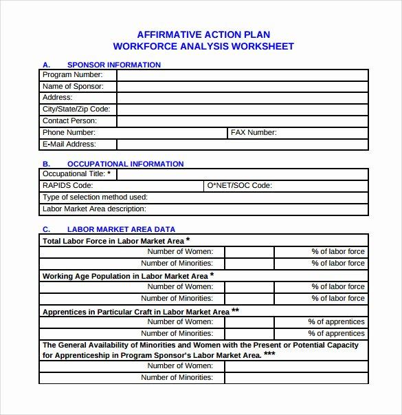 Affirmative Action Plan Template Fresh Sample Affirmative Action Plan 9 Documents In Pdf Word