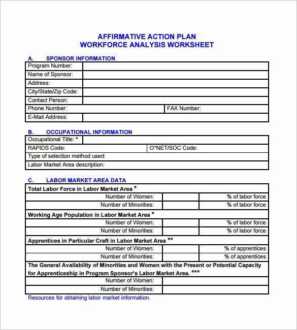Affirmative Action Plan Template Lovely 6 Affirmative Action Plan Templates Doc Pdf