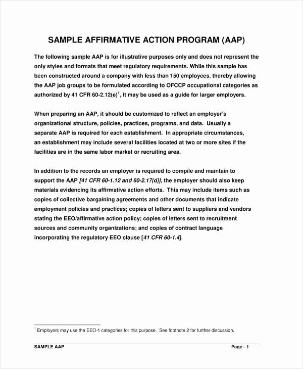 Affirmative Action Plan Template Lovely 8 Affirmative Action Plan Templates Pdf Word