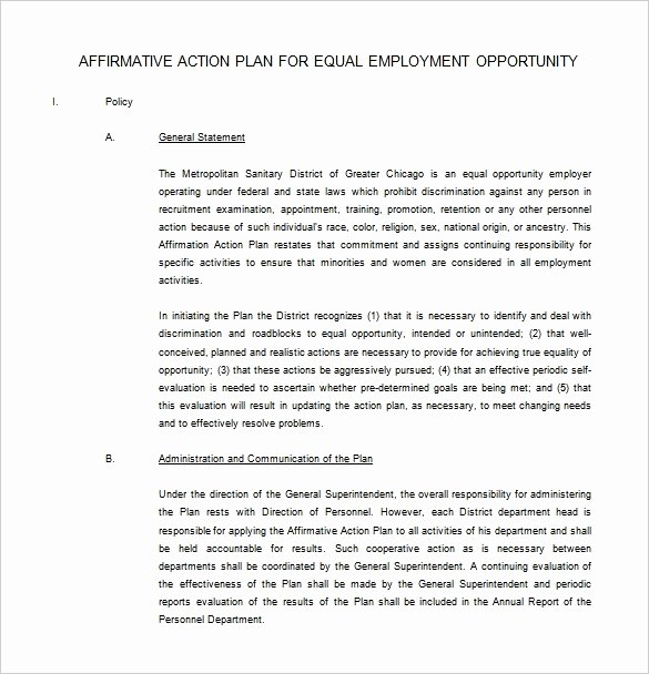 Affirmative Action Plan Template Luxury 14 Best Affirmative Action Plan Template Maotme Life