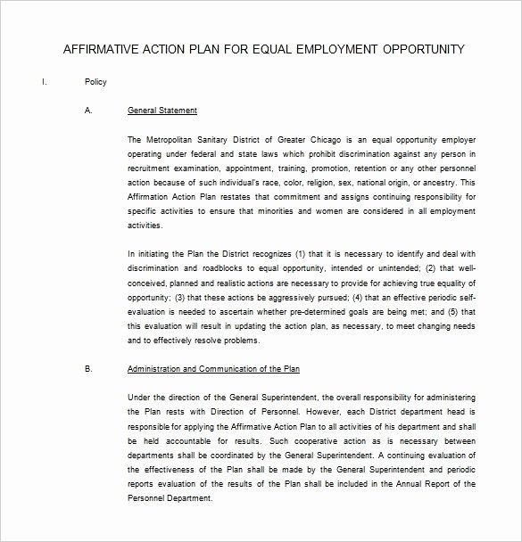 Affirmative Action Plan Template Luxury 14 Best Affirmative Action Plan Template Maotme Life