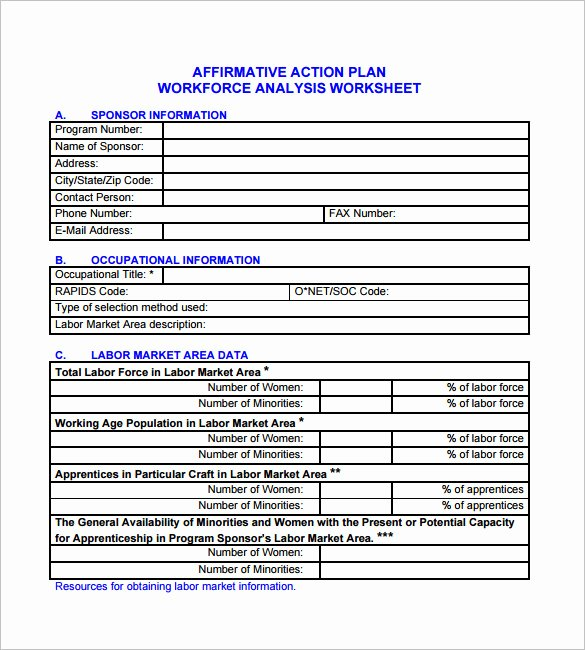affirmative action plan sample small business
