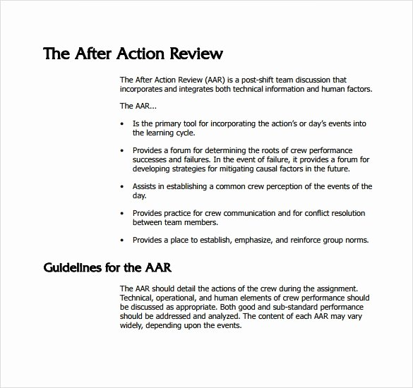 After Action Report Template Best Of Sample after Action Review Template 7 Documents In Pdf
