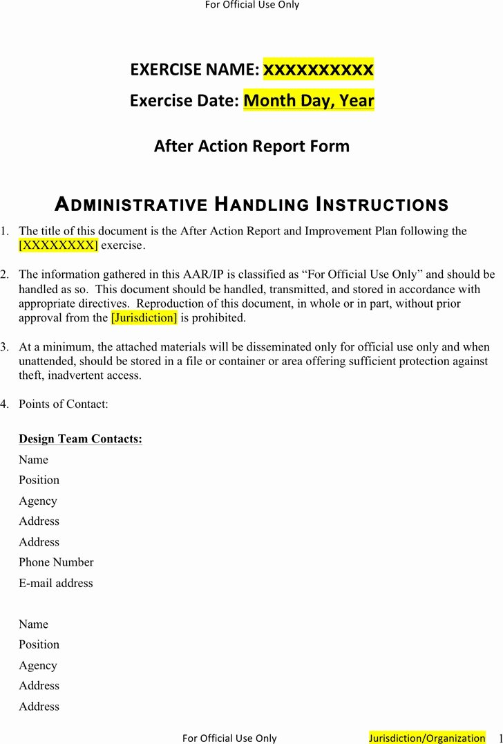 After Action Report Template Fresh 3 after Action Report Template Free Download