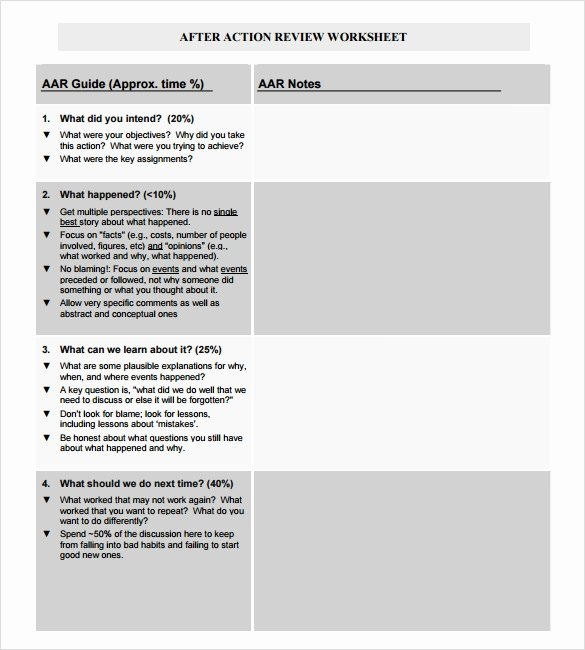 After Action Report Template Lovely Sample after Action Review Template 7 Documents In Pdf