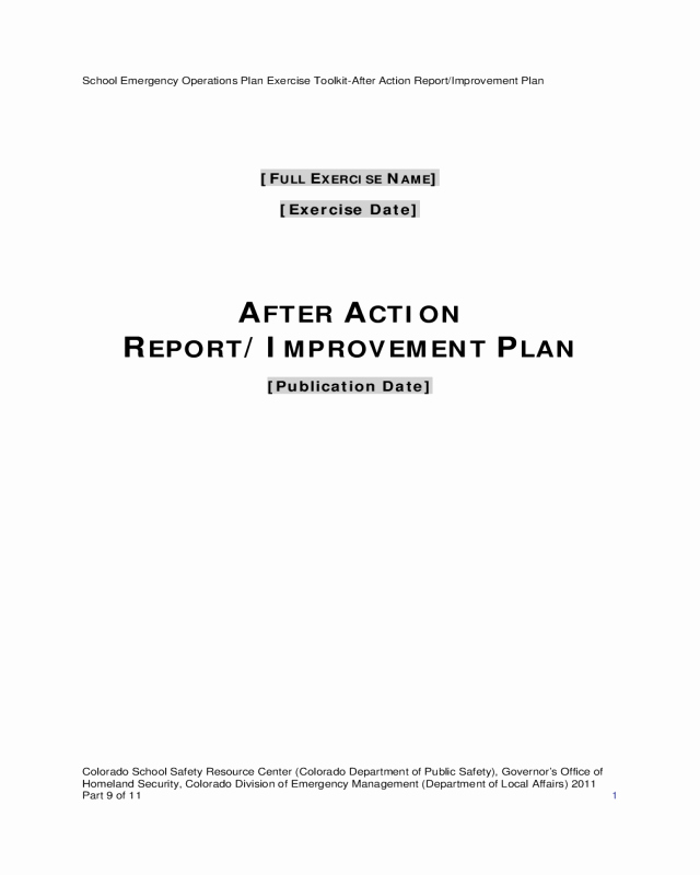 After Action Report Template New 2019 after Action Report Template Fillable Printable