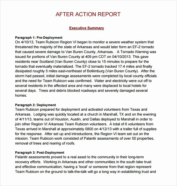 After Action Report Template Unique Sample after Action Report Sample – 6 Free Documents In Pdf
