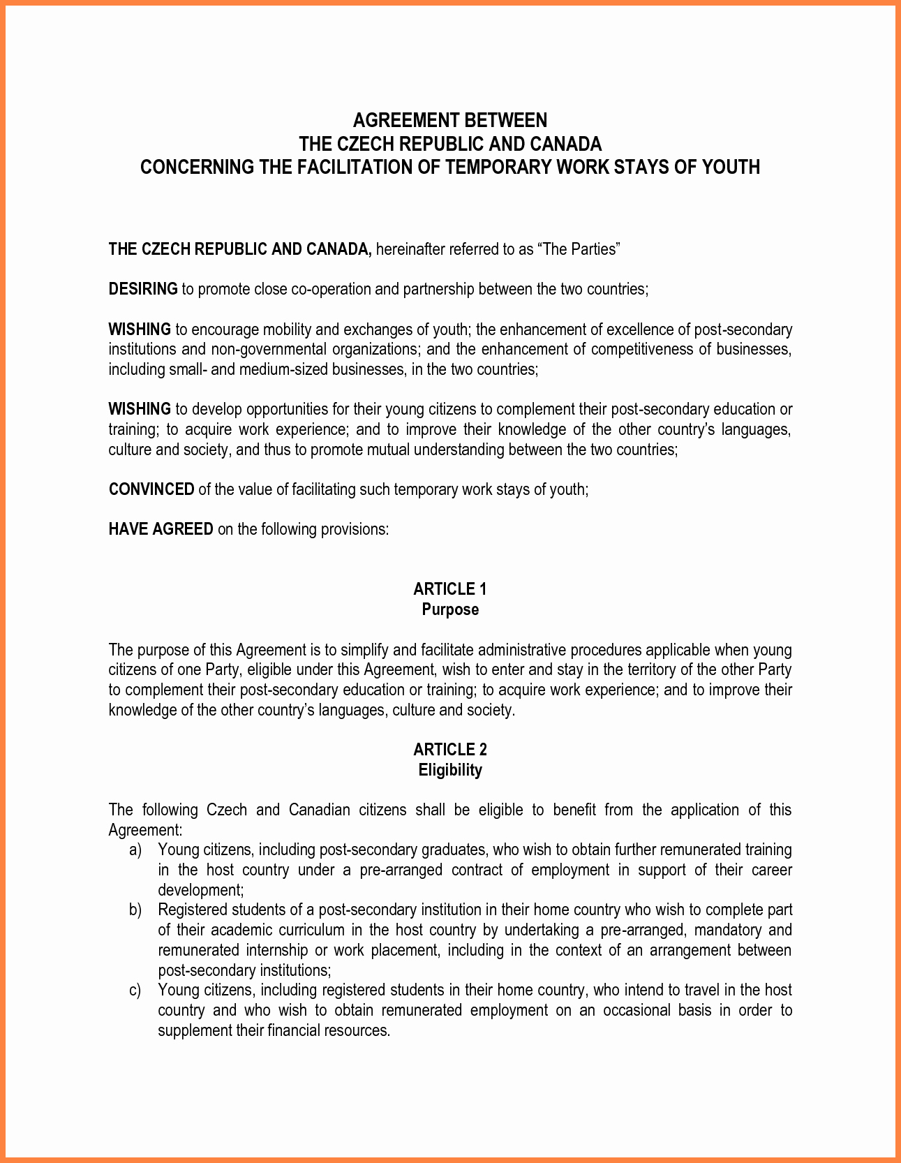 Agreement Template Between Two Parties Inspirational 10 Letter Of Agreement Template Between Two Parties