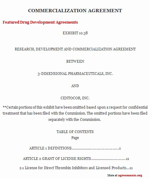 Agreement Template Between Two Parties Lovely Mercialization Agreement Sample Mercialization