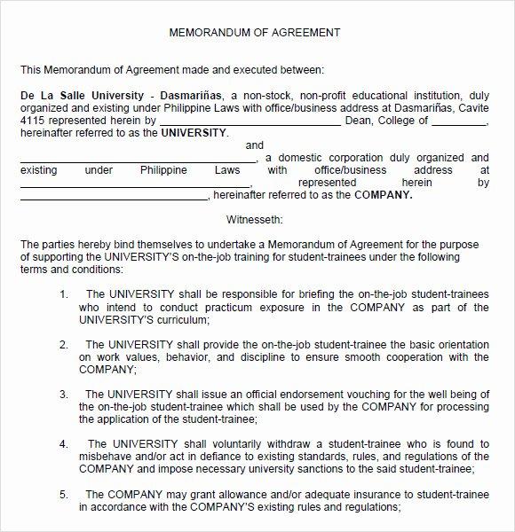 Agreement Template Between Two Parties Luxury 13 Memorandum Of Agreements Pdf Word