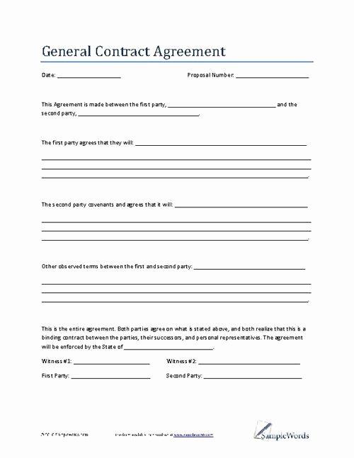 Agreement Template Between Two Parties Luxury General Contract Agreement Template Business Contract