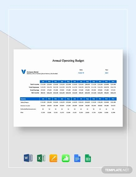 Annual Operating Budget Template Inspirational Free 13 Sample Annual Bud Templates In Google Docs