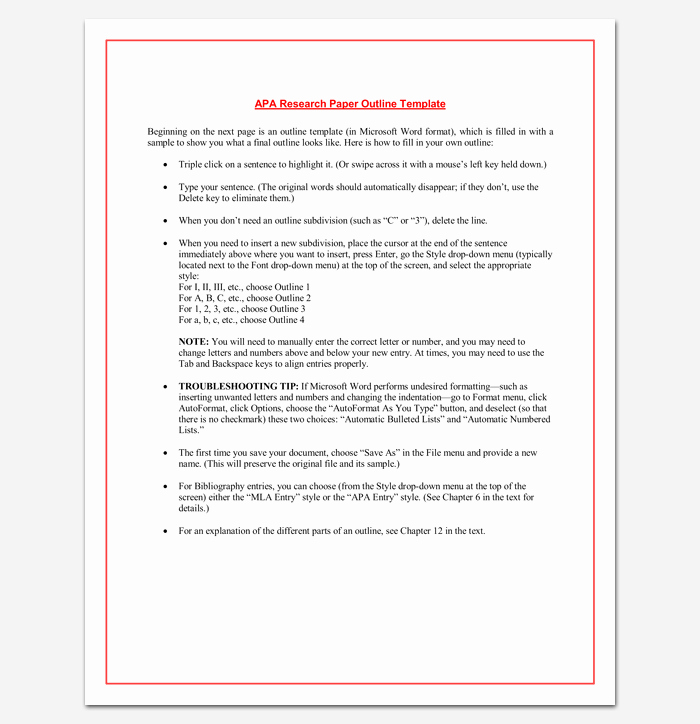 Apa Research Paper Outline Template Elegant Research Paper Outline Apa format 7 Examples and Samples