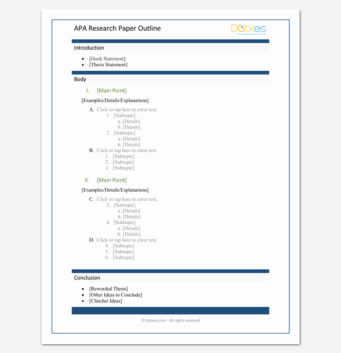 Apa Research Paper Outline Template Fresh Research Paper Outline Template 36 Examples formats