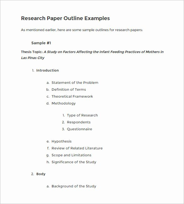 Apa Research Paper Outline Template Luxury 4 Research Outline Templates Doc Pdf