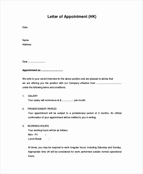 Appointment Confirmation Email Template Beautiful Free 65 Appointment Letter Examples & Samples In Pdf