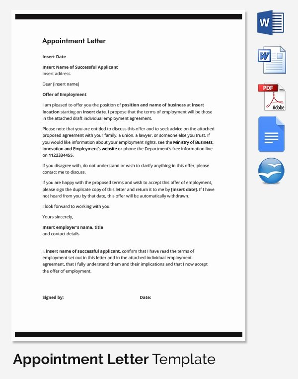 Appointment Confirmation Email Template Lovely 25 Appointment Letter Templates Free Sample Example