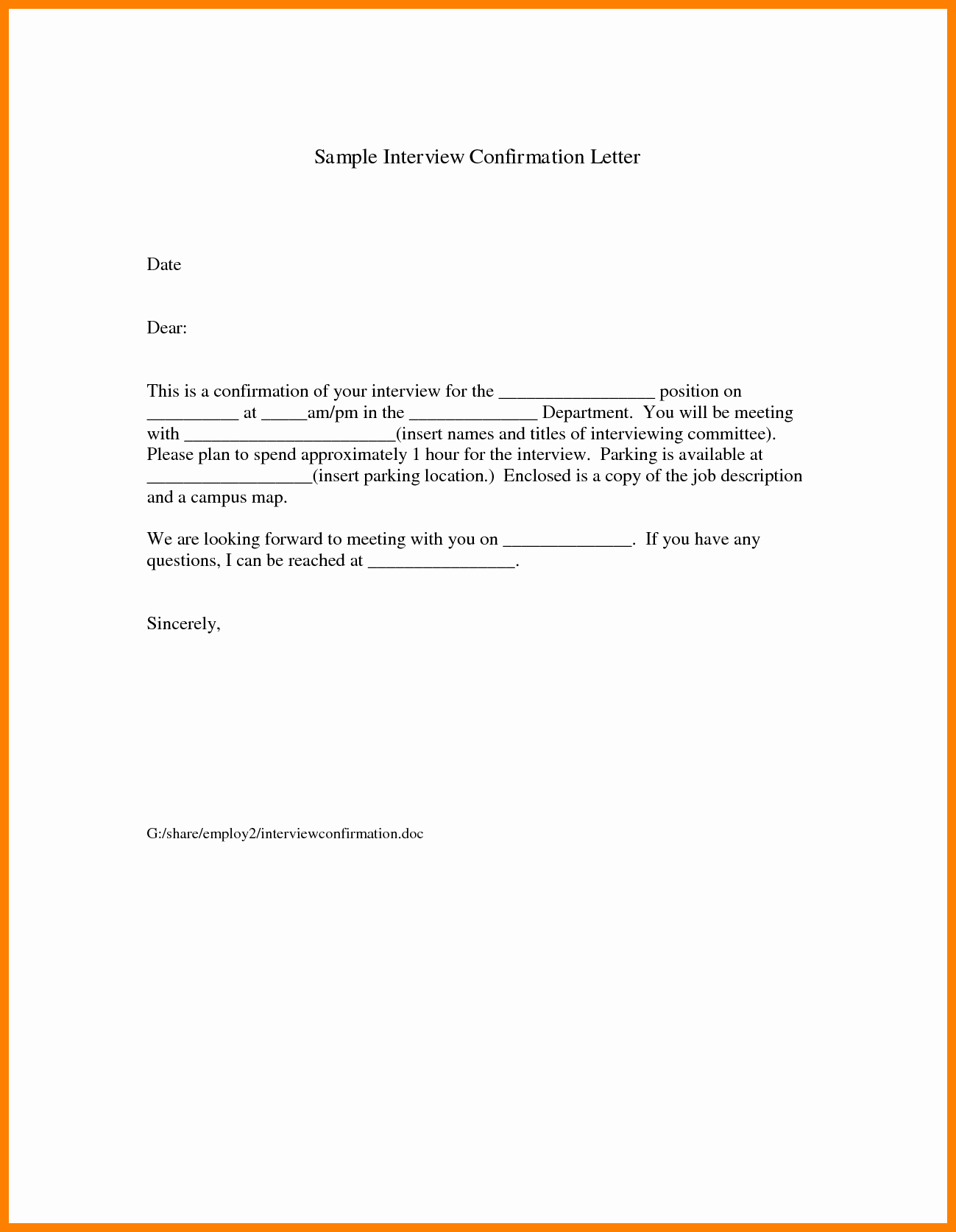Appointment Confirmation Email Template Luxury Interview Confirmation Email