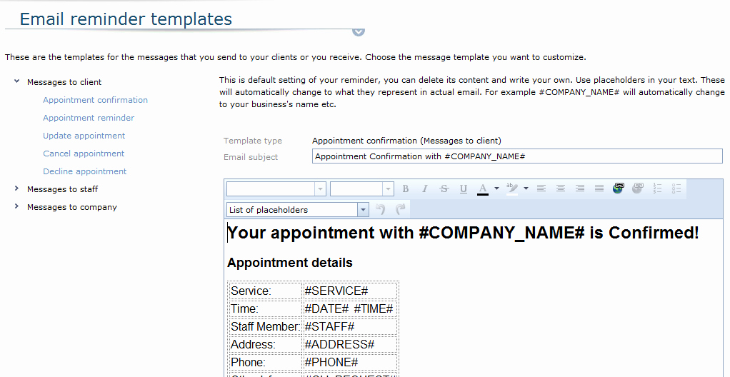 Appointment Confirmation Email Template Unique Email Appointment Reminders