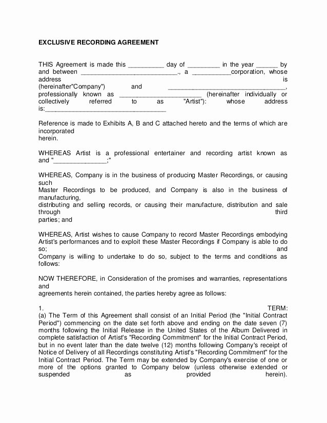 Art Commission Contract Template Awesome Artist Recording Contract 3