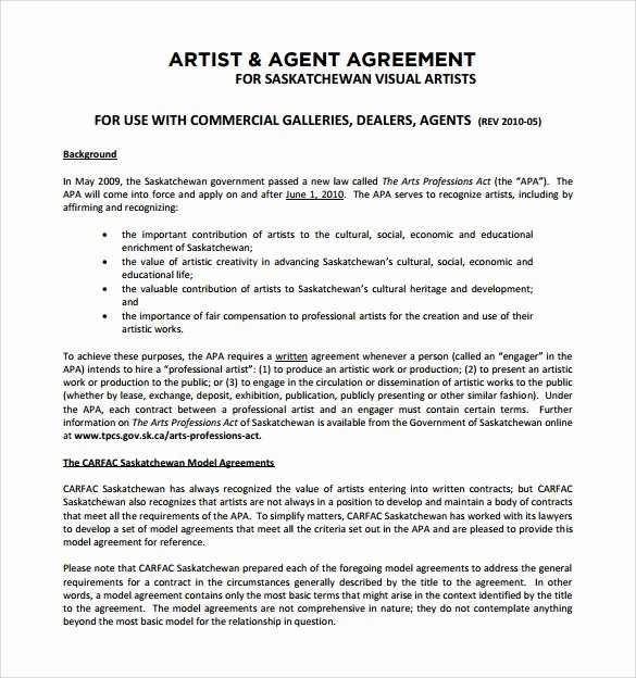 Art Commission Contract Template Unique Artist Contract Template This is How Artist Contract