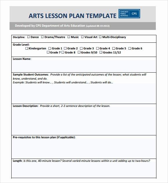 Art Lesson Plan Template Elegant Sample Art Lesson Plan 8 Documents In Pdf Word