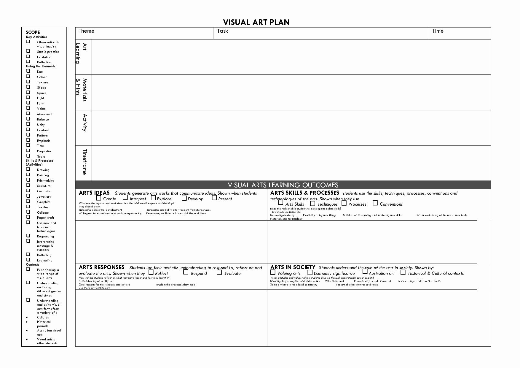 Art Lesson Plan Template Unique Visual Arts Lesson Plan Template Visual Art Plan