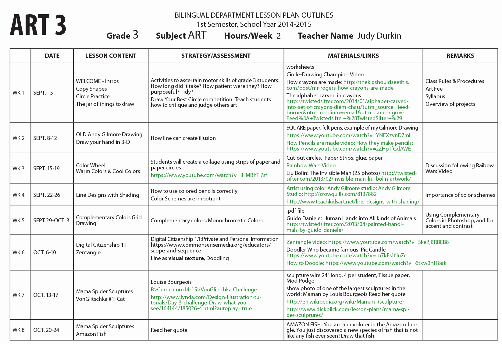 Art Lesson Plans Template Beautiful Weekly Lesson Plans Semester 1 2014