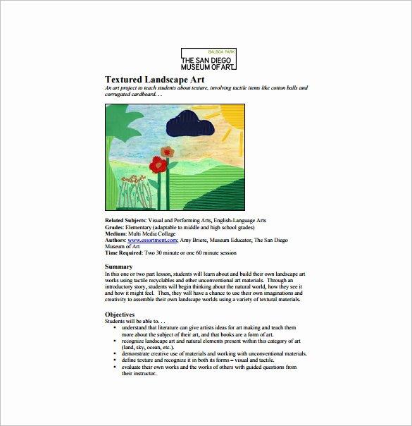 Art Lesson Plans Template New Art Lesson Plan Template 10 Free Word Pdf Documents