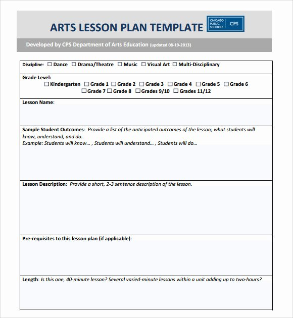 Art Lesson Plans Template Unique Sample Art Lesson Plans Template 7 Free Documents In Pdf