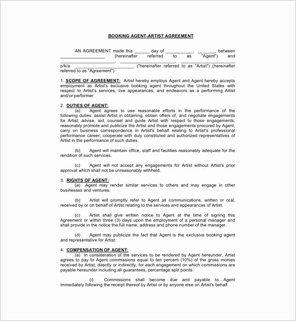 Artist Booking Contract Template Beautiful 11 Booking Agent Contract Templates – Free Word Pdf