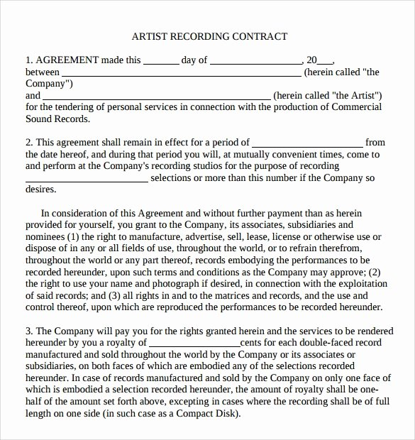 Artist Booking Contract Template Fresh 12 Artist Contract Templates Pages Word Docs