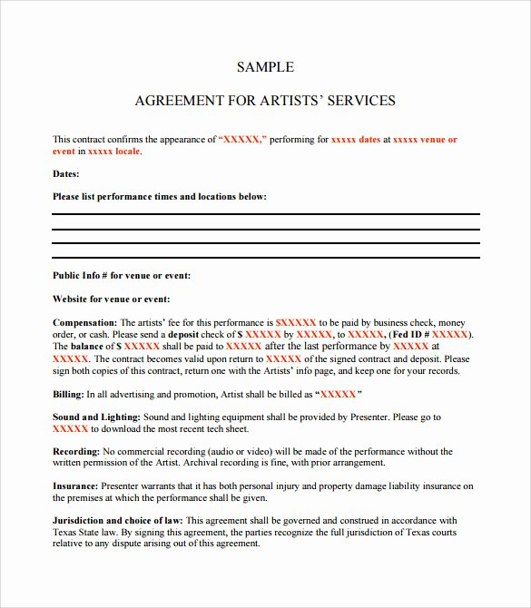 Artist Booking Contract Template Inspirational 14 Sample Artist Contract Templates Word Docs