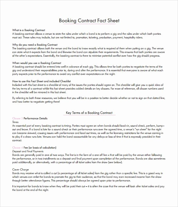 Artist Booking Contract Template Inspirational Booking Agent Contract Template 9 Download Free
